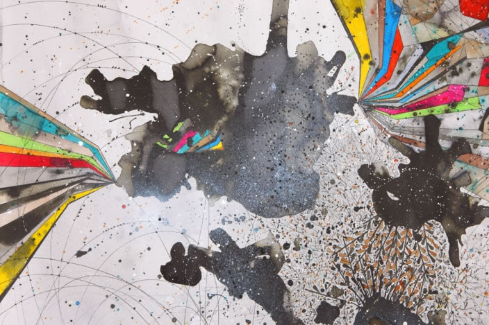 The Ascent (Detail), 2012, Ink, aquarelle & acrylic lacquer on paper, 150 x 150 cm