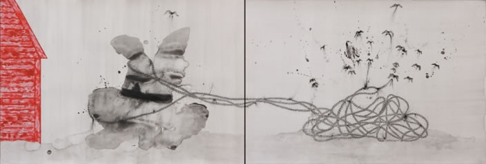 Pulled Forces (Diptych), 2012, Ink & aquarelle on paper, 75 x 110 cm each