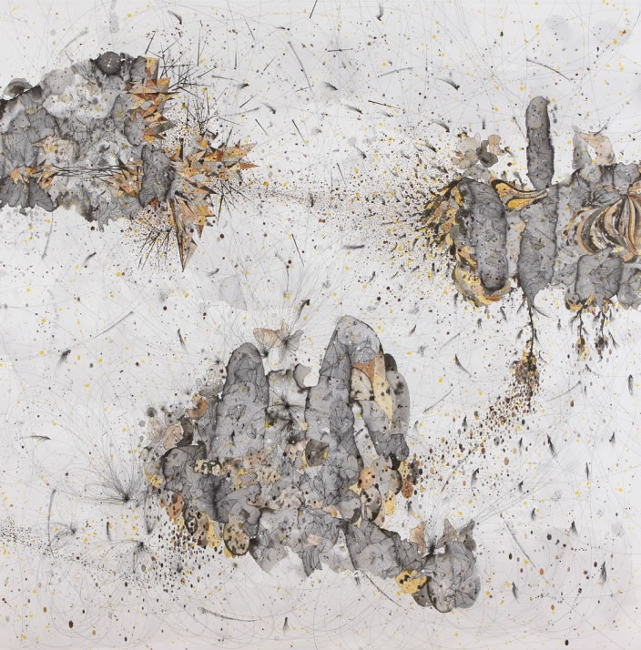 Necessary Affinities (Diptych detail), 2012 Ink & aquarelle on paper, 150 x 150 cm
