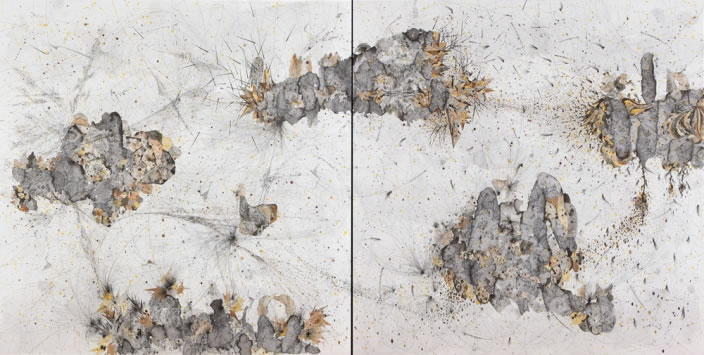 Necessary Affinities (Diptych), 2012, Ink & aquarelle on paper, 150 x 150 cm each