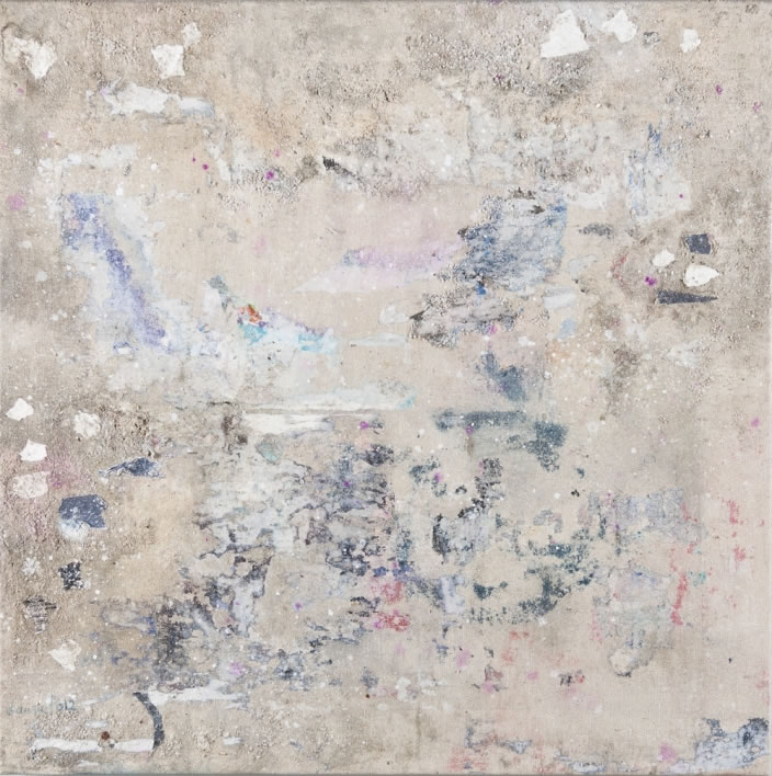 Laura Pharaon, Blue Mist Collision, 2012, Paper, Polymer emulsion, acrylic medium, ink, sand, concrete, and thick salt on canvas, 50 x50 cm